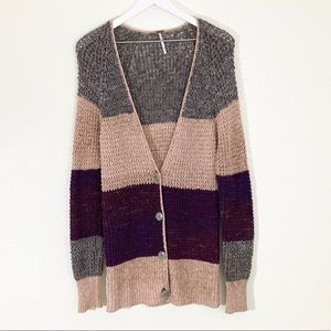Free People Lake Tahoe Color Block Knit Cardigan